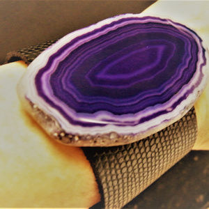 Purple Amethyst Crystal wide Leather Snap Bracelet